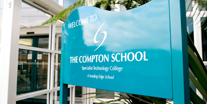 Compton School post and panel sign
