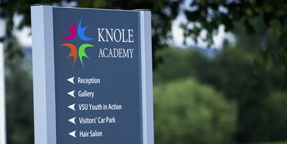 Sign designed for Knole Academy by Cleverbox