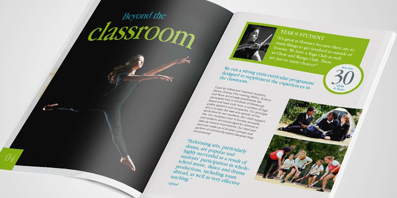 Hornsey school website and prospectus design