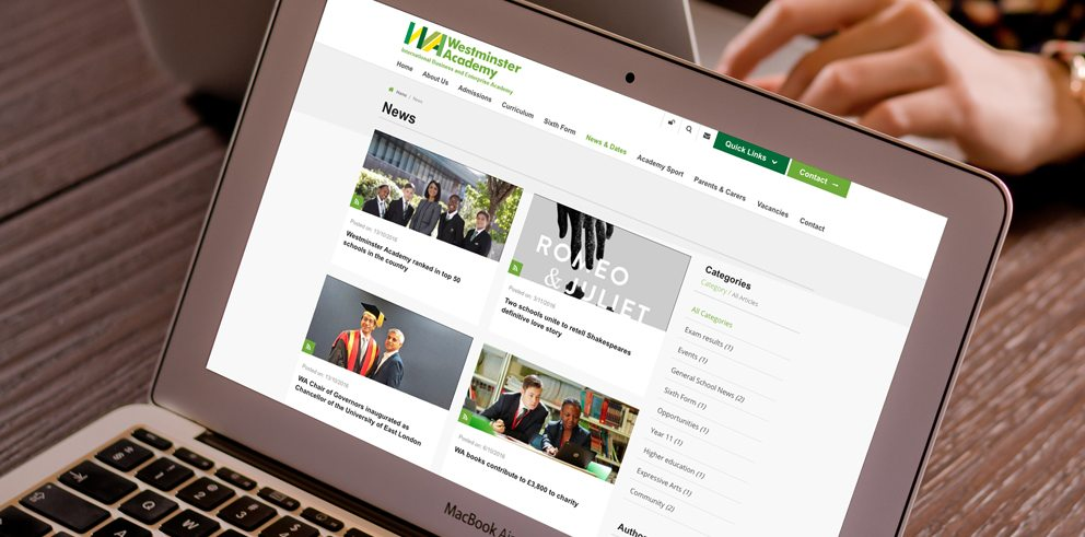 Wesminster Academy school website design and build