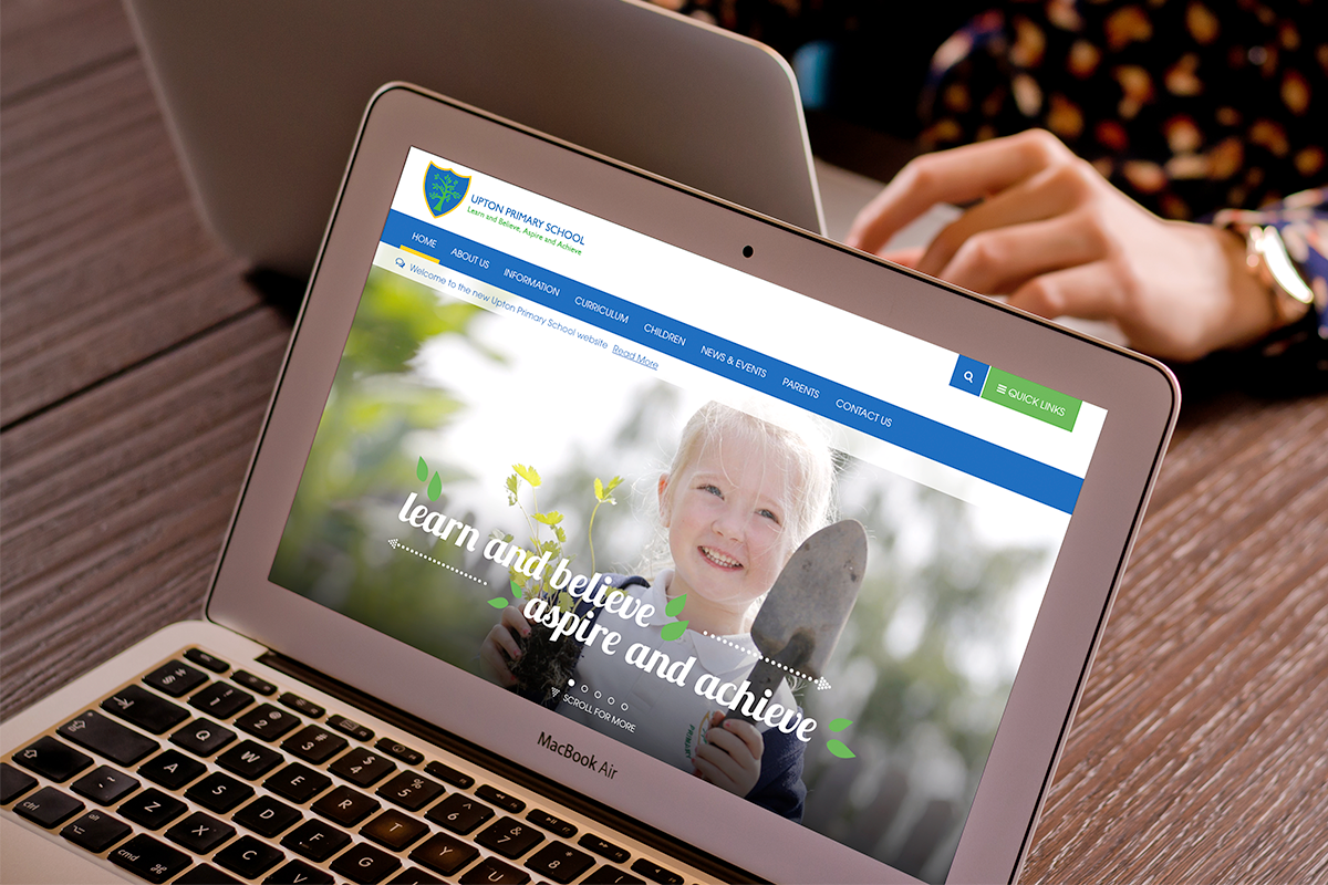 Upton Primary Website homepage visual