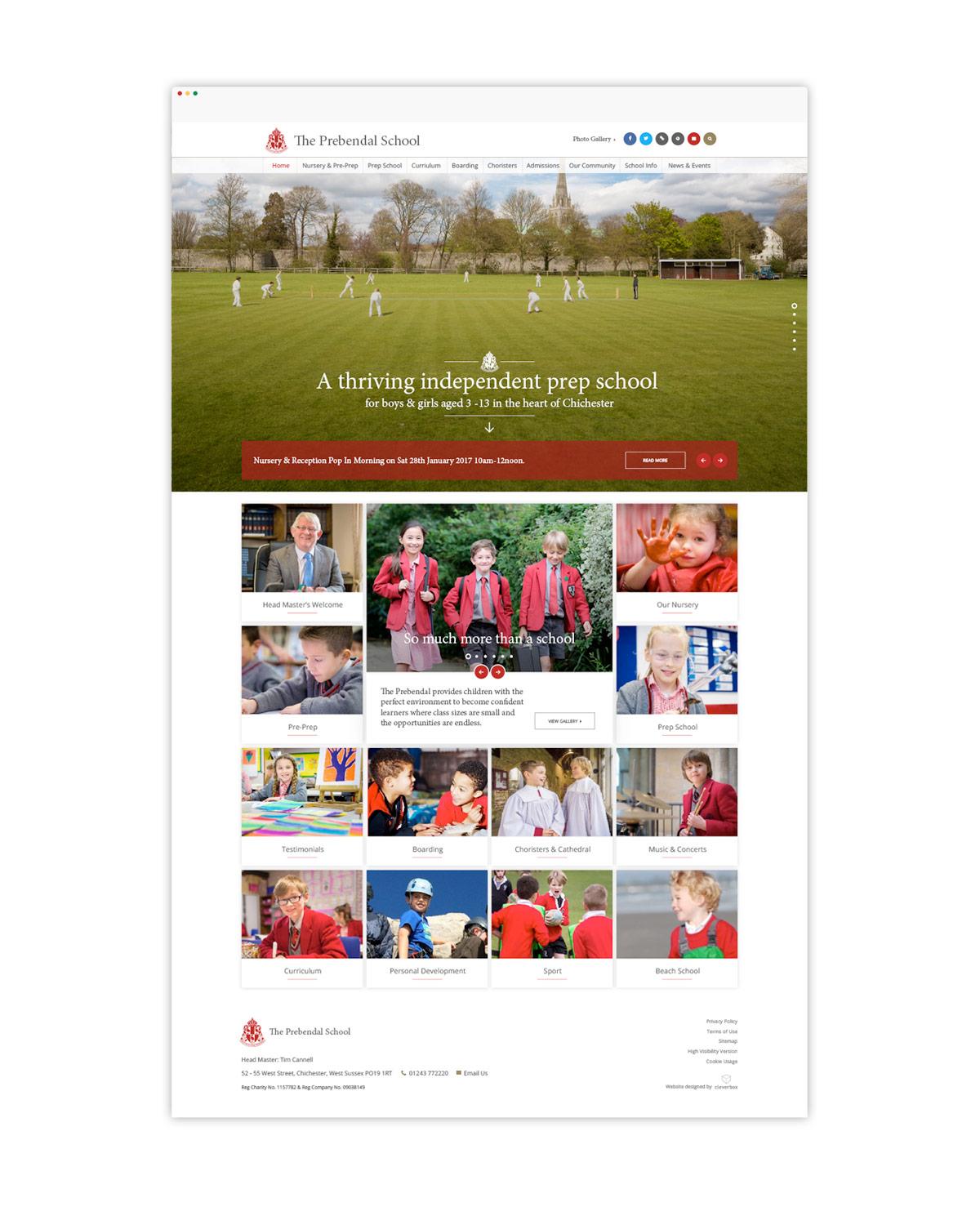 prebendal school website homepage design mockup