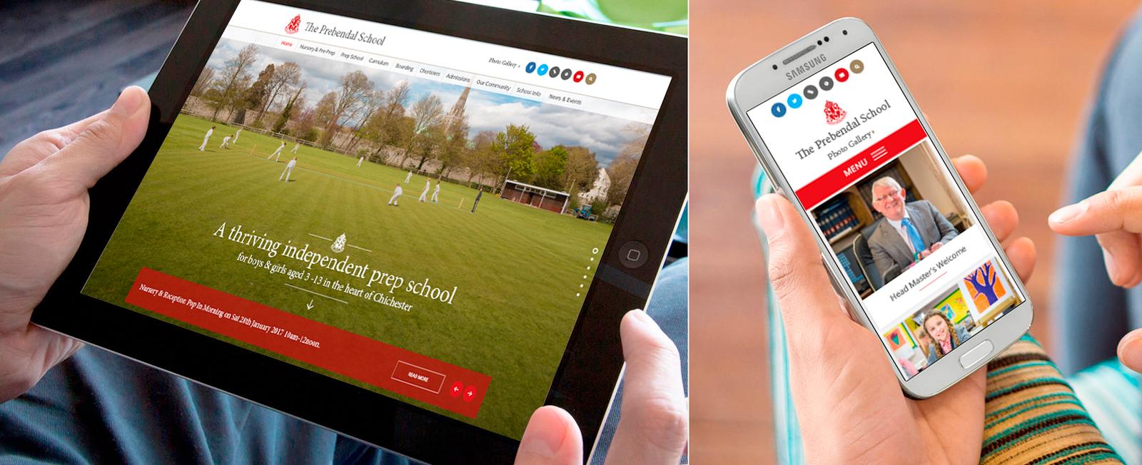 The Prebendal School school website design by cleverbox
