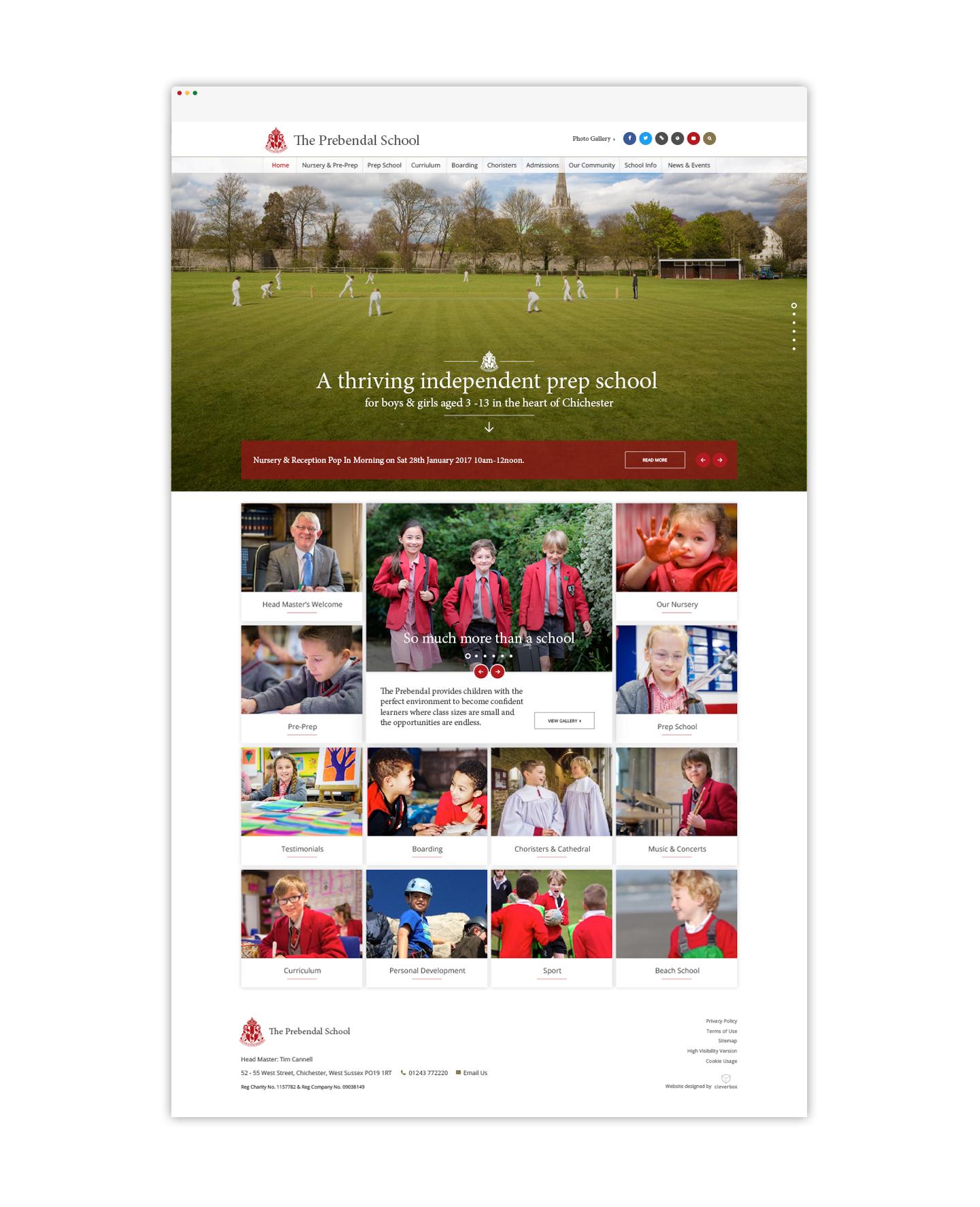 The Prebendal School bespoke school website design by cleverbox