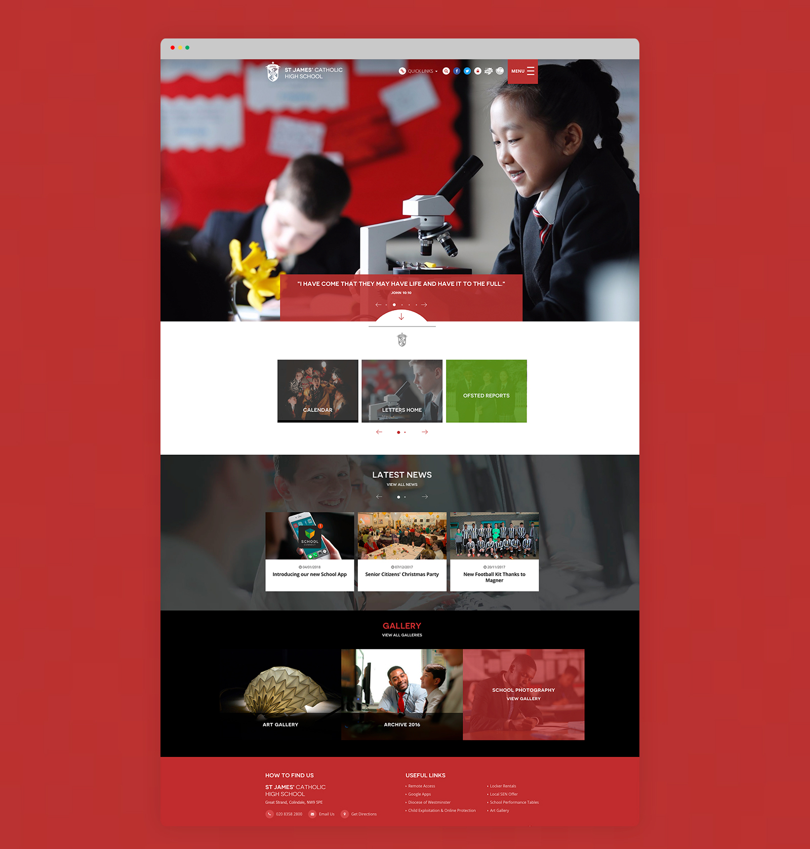 St James School Website Design