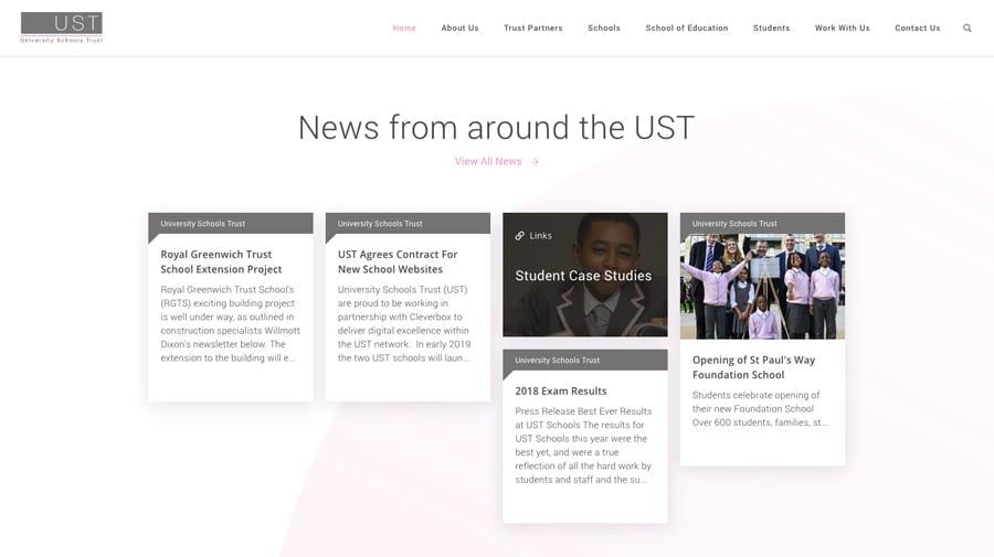 University Schools Trust website homepage design twitter feed