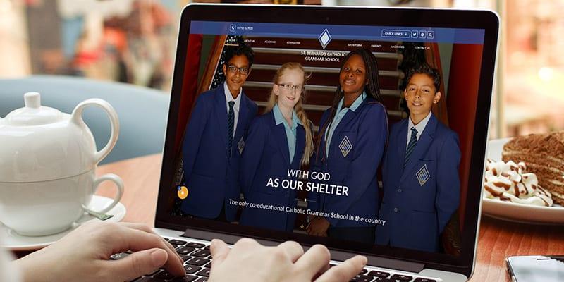 St Bernard's Catholic Grammar School website homepage design