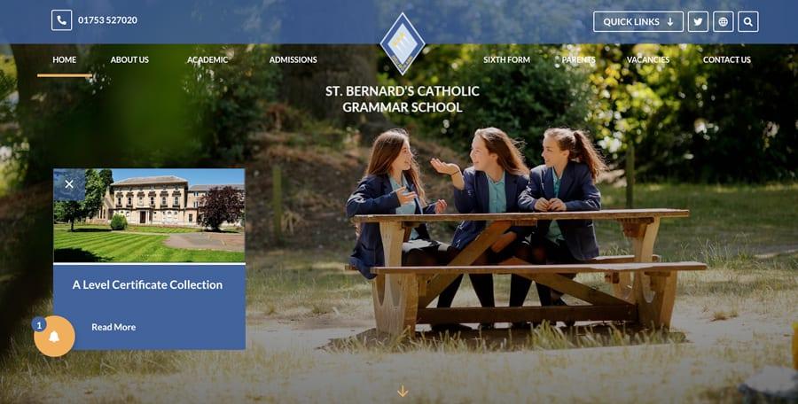 St Bernard's Catholic Grammar School website homepage design notification