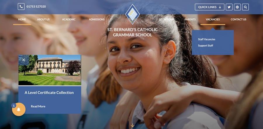 St Bernard's Catholic Grammar School website homepage design clear and visual