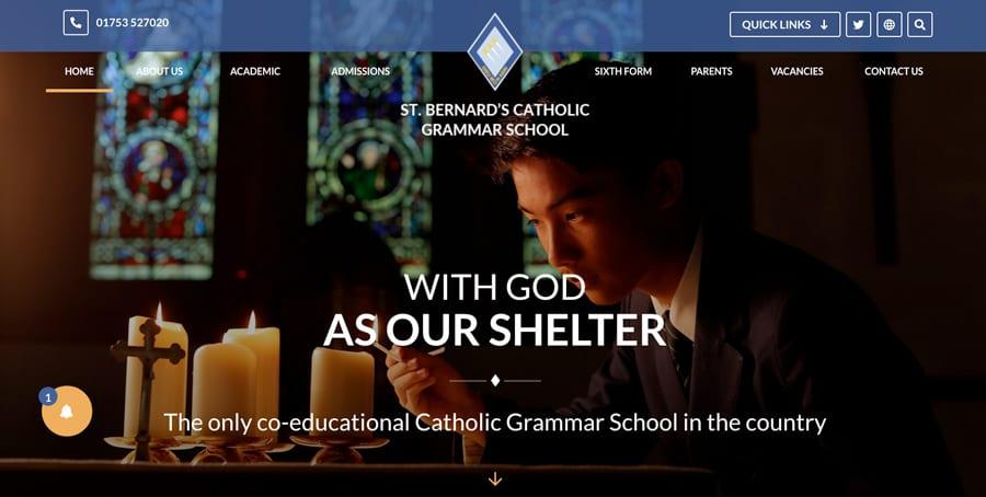 St Bernard's Catholic Grammar School website homepage design carousel