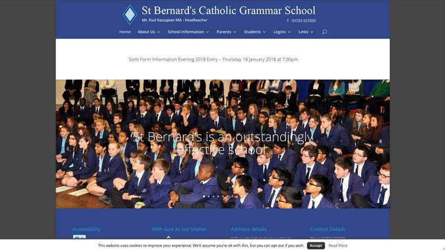 St Bernard's Catholic Grammar School old school website homepage design