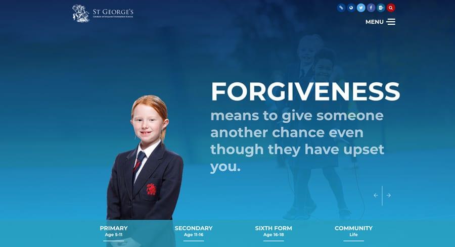 St George's CoE Foundation school website homepage design