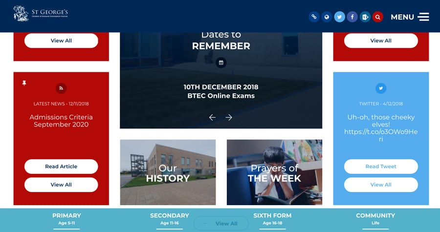 St George's CoE Foundation school website homepage design sticky footer