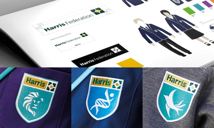 Building a successful trust brand Cleverbox Harris Federation Academy Logo and Uniform Design