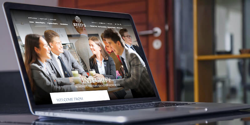 Reed's school website case study homepage